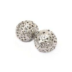 Мънисто метал топче 12 мм дупка 1 мм цвят сребро