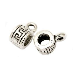 Cilindru metalic cu margele cu inel de 5x10 mm gaură de 4 mm și 2 mm culoare argint vechi -20 piese