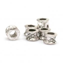 Мънисто метал цилиндър 5.5x7 мм дупка 4 мм цвят старо сребро -20 броя