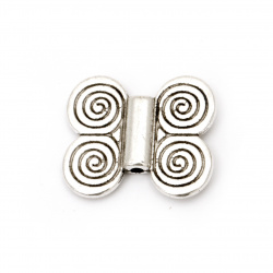 Metal Bead butterfly 20x17x3 mm hole 1.5 mm color old silver -5 pieces