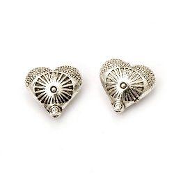 Margele metalica inimă 12x13x6 mm gaură 1 mm culoare argint vechi -5 bucăți
