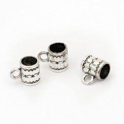 Cilindru metalic cu margele cu inel de 8x10 mm gaură 5 mm și 2 mm culoare argint vechi -10 bucăți