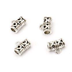 Мънисто метал цилиндър с халка 12x9 мм дупка 4 мм и 2 мм цвят старо сребро -10 броя