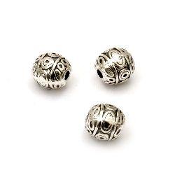 Мънисто метал топче 6.5x6.5 мм дупка 2 мм цвят старо сребро -10 броя