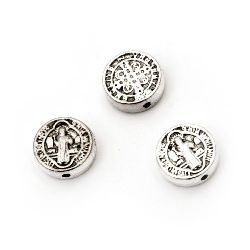 Metal bead  coin 9.5x3 mm hole 1.5 mm color silver -10 pieces