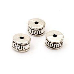 Margele metalica cilindru 8x5 mm gaură 1,5 mm culoare argintiu vechi -10 bucăți