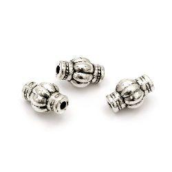 Мънисто метал цилиндър 12x8 мм дупка 2 мм цвят старо сребро -10 броя