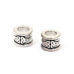 Мънисто метал цилиндър 8x10 мм дупка 6 мм цвят сребро -5 броя