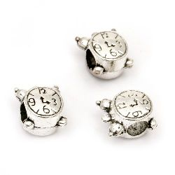 Metal bead watch 10x12x8 mm hole 5 mm color silver -5 pieces