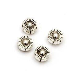 Мънисто метал цвете 6x3.5 мм дупка 1.5 мм цвят старо сребро -20 броя