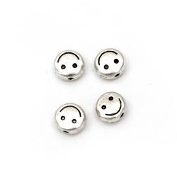 Margele metalica  zâmbet 6x3 mm gaură 1 mm culoare argintiu -20 bucăți