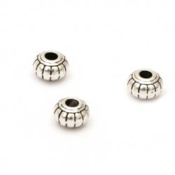 Мънисто метал диск 6x6 мм дупка 1.5 мм цвят старо сребро -20 броя