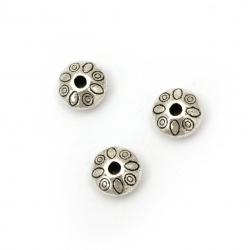 Мънисто метал диск 9x6 мм дупка 1.5 мм цвят старо сребро -10 броя