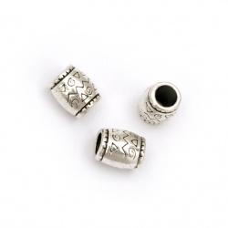 Margele metalica  cilindru  8x6,5 mm gaură 4 mm culoare argintiu vechi -10 bucăți