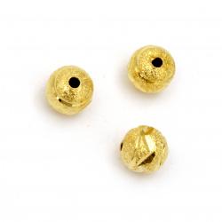 Топче метално с релеф 8 мм дупка 1.5 мм цвят злато -5 броя