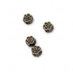 Margele metalica floare 5x3 mm gaură 1 mm culoare bronz antic -50 bucăți