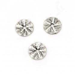 Мънисто метал паричка 13x1 мм дупка 2.5 мм цвят старо сребро -10 броя