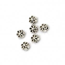Мънисто метал цвете 6.5x4.5 мм дупка 1 мм цвят старо сребро -20 броя