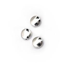 Margele metalica monedă  9x4 mm gaură 1 mm culoare alb -10 bucăți