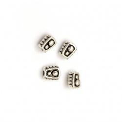 Margele metalica cilindru  5x4 mm gaură 1 mm culoare argintiu vechi -50 bucăți