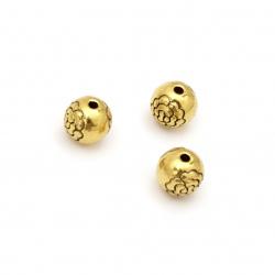 Χάντρα μεταλλική στρογγυλή  8 mm τρύπα 1 mm χρώμα παλαιωμένο  χρυσό -5 τεμάχια