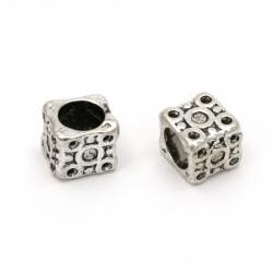 Мънисто метал куб 10x10x10 мм дупка 7.5 мм цвят сребро -5 броя