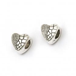 Мънисто метал сърце 10x10x8 мм дупка 5 мм цвят сребро -5 броя