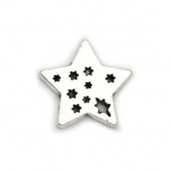 Фигурка метал звезда 17x17x2 мм цвят сребро -10 броя