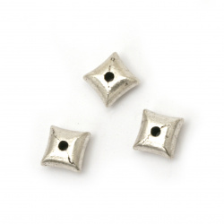 Мънисто метал квадрат 8x8x4.5 мм дупка 2 мм цвят сребро -10 броя
