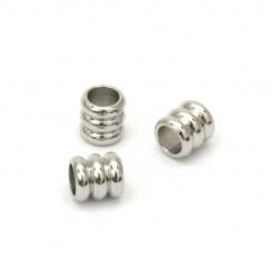 Мънисто метал цилиндър 5x5 мм дупка 3.5 мм цвят старо сребро -20 броя