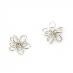 Metal bead  flower 15x4 mm hole 1.5 mm color silver -5 pieces