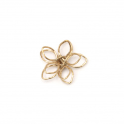Metal flower beads 15x4 mm hole 1.5 mm color gold - 5 pieces