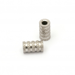 Мънисто стомана цилиндър 11x6 мм дупка 3 мм цвят сребро -4 броя