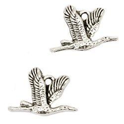 Pandantiv pasăre metalică 20x14x3 mm gaură 1,5 mm culoare argintiu vechi -10 bucăți
