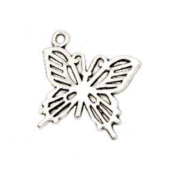 Pandantiv metal fluture 19,5x19x2 mm gaură 1,5 mm culoare argint vechi -10 bucăți