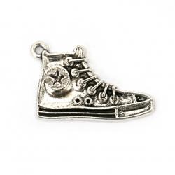 Висулка метална обувка 32x20x2 мм дупка 2 мм цвят сребро -5 броя