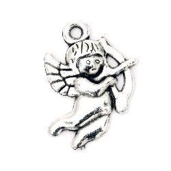 Κρεμαστό μεταλλικό άγγελος 22x16x2 mm τρύπα 2 mm χρώμα παλαιωμένο ασήμι -5 τεμάχια