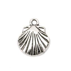 Scoica metalică pandantiv gaură de 17x14x2 mm 1,5 mm culoare argintiu vechi -10 bucăți
