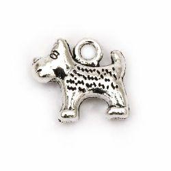 Висулка метална куче 13x14x4 мм дупка 2 мм цвят старо сребро -10 броя