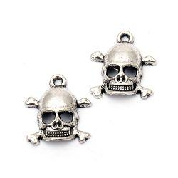Pandantiv craniu metalic 19x17x4 mm gaură 2 mm culoare argintiu -10 bucăți
