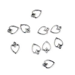 Висулка метална сърце 11x8x1 мм дупка 1 мм цвят сребро -50 броя