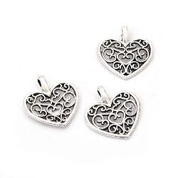 Висулка метална сърце 16.5x15x2 мм дупка 2 мм цвят сребро -20 броя