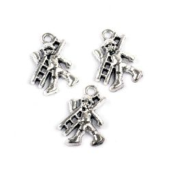 Metal pendant chimney sweep 21x15x4 mm hole 2 mm color old silver -10 pieces