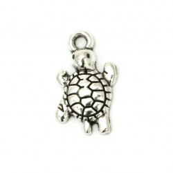 Pendant metal turtle 22x12.5x3 mm hole 2.5 mm color old silver -10 pieces