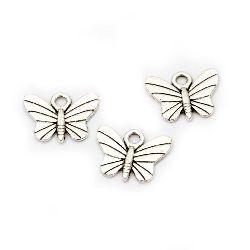 Висулка метална пеперуда 12x15x1.5 мм дупка 2 мм цвят сребро -10 броя