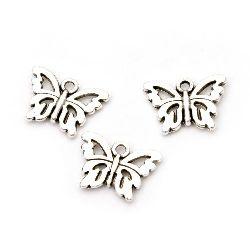 Висулка метална пеперуда 10.5x15x2 мм дупка 1.5 мм цвят сребро -20 броя