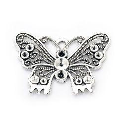 Висулка метална пеперуда 36x50x2 мм дупка 3.5 мм цвят старо сребро