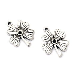Pendant metal clover 23x18x3 mm hole 2 mm color old silver -5 pieces