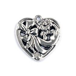 Висулка метална сърце 27.5x26x3 мм дупка 2 мм цвят сребро -2 броя