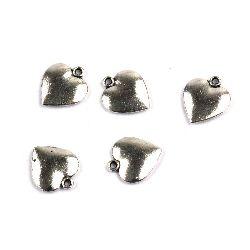 Pandantiv inimă metalică 16x14x2,5 mm gaură 2 mm culoare argint vechi -10 bucăți